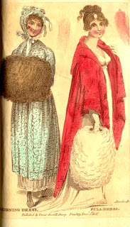 Period print with two ladies standing, one holding a muff in one hand, the other has both hands in her muff.