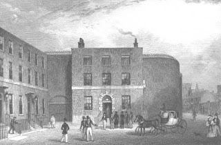 Print of the front entrance of Kings Bench prison