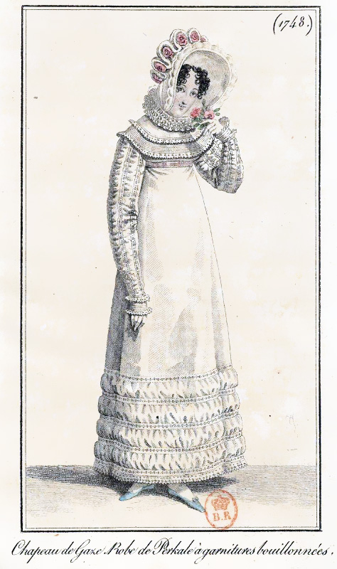 Print of a Regency lady wearing a long sleeved ruffled dress, a rose decorated bonnet, holding a pink flower to her nose