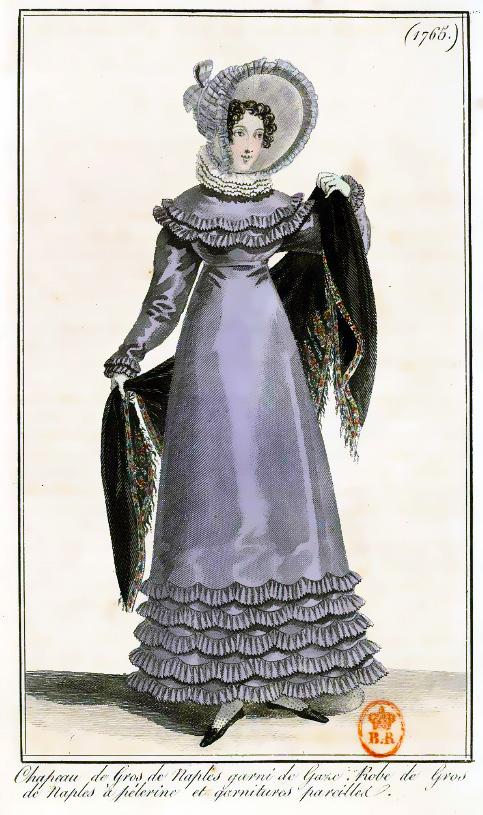 Print of a Regency Lady in a Grey dress and a black shawl