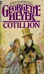 Cover of a paperback edition of Cotillion, with a man and woman in Regency dress.