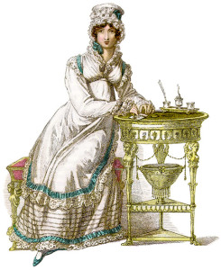 Image of a lady at a writing desk from Ackermann's.