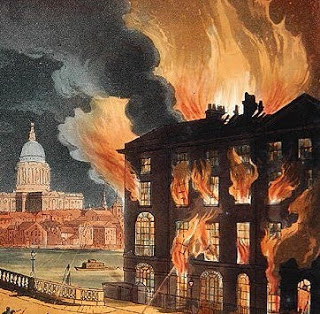 Print of a building fire in London