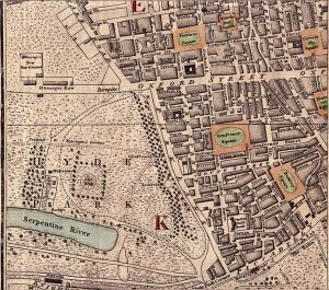 Shopping on Oxford Street: Detail of an 18th century map showing the area of Oxford Street.