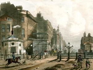 Shopping on Oxford Street: Painting of the view of Oxford Street from the Tyburn Turnpike gates. 18th century buildings to the left, the road is dirt, the gates are wood bars.