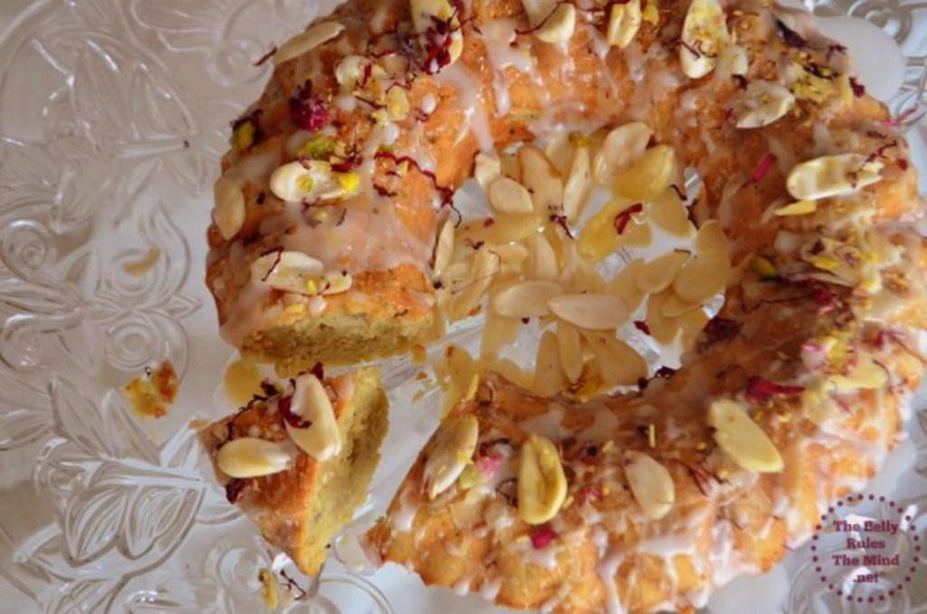 Dry Fruit Cake with Thandai Glaze sliced