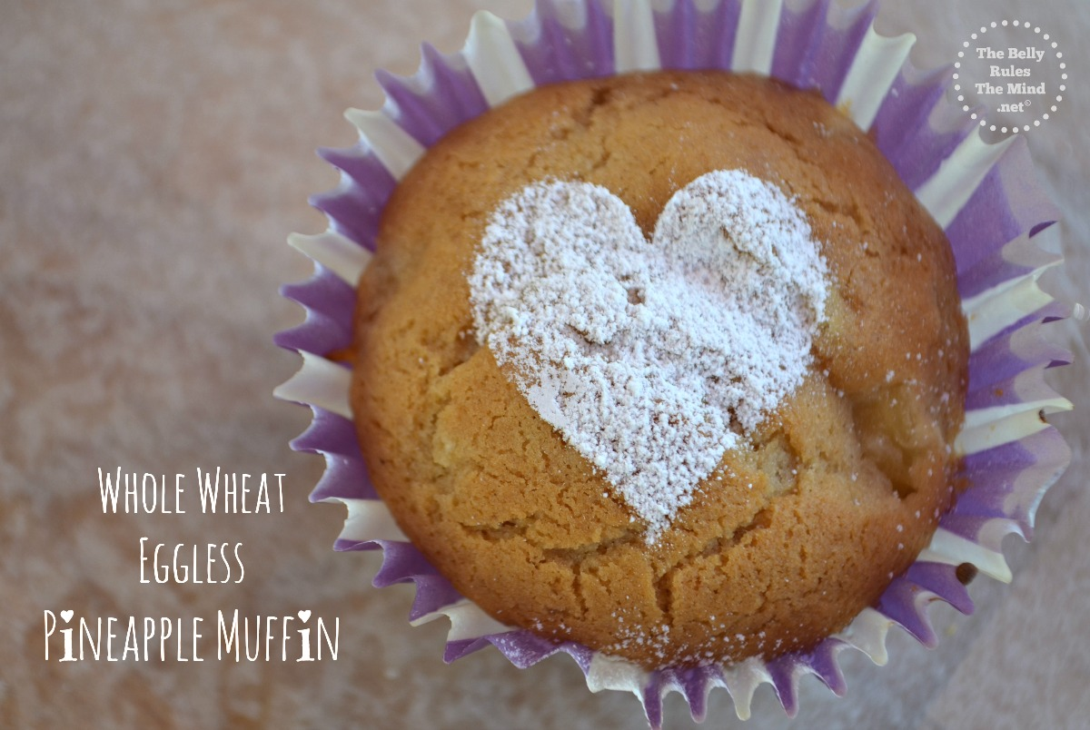 whole wheat eggless pineapple muffin