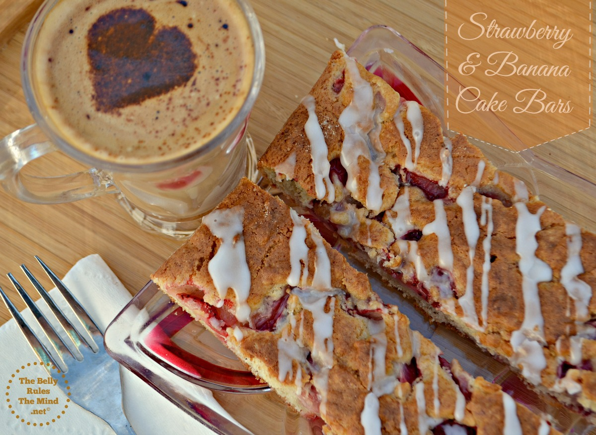 Eggless Strawberry banana cake bars