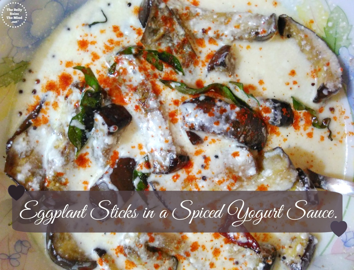 Eggplant Sticks in a Spiced Yogurt Sauce.