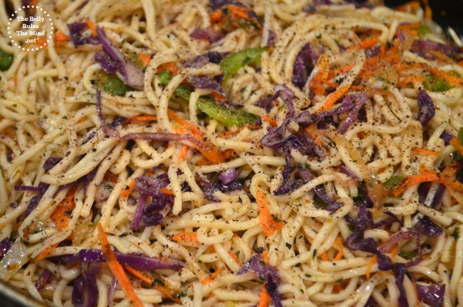 Adding noodles