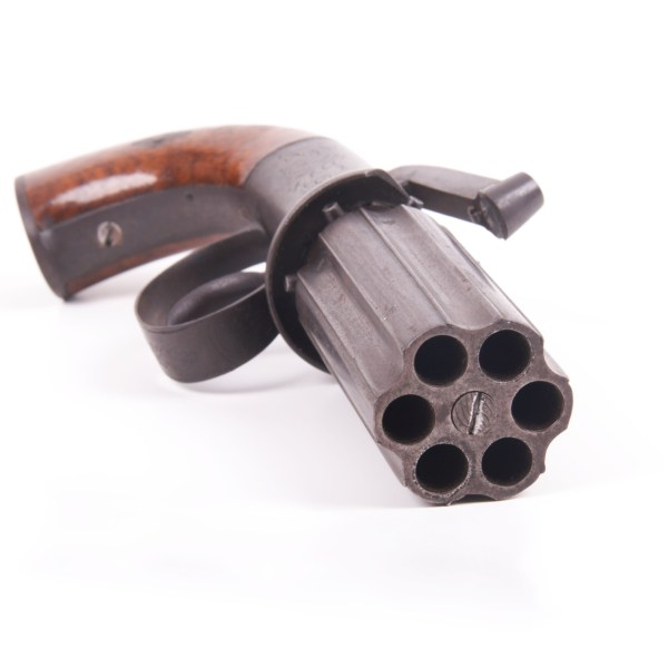 English Six Shot Percussion Pepperbox Pistol