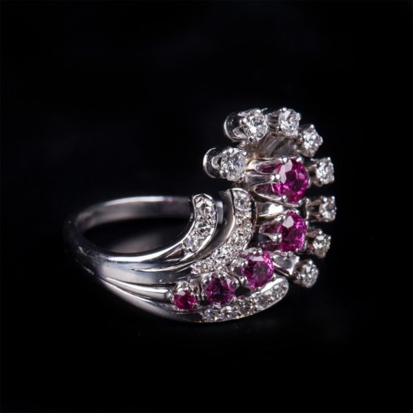 Gold 585 ring with diamond. 5 pieces of rubies