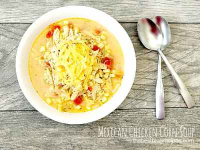Cheesy Mexican Grilled Chicken Corn Soup | thebestblogrecipes.com #AD #cbias #SummerofGiving #shop