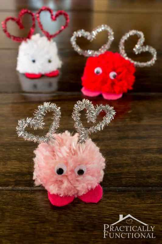 Pom Pom Monsters featured on 25 Valentine's Day Crafts from The Best Blog Recipes