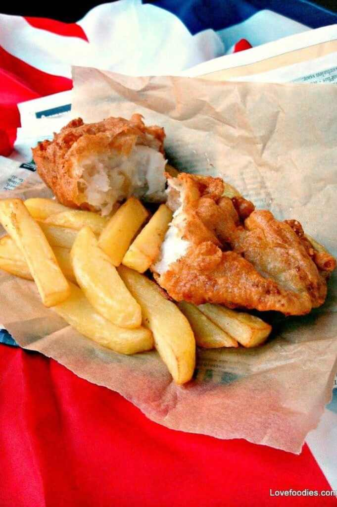 British beer battered fish and chips for Fish and chips recipes