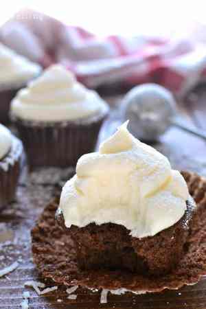 CHOCOLATE COCONUT CUPCAKES -- You'll never want to make regular cupcakes ever again after trying this chocolate coconut cake, paired with rich smooth coconut frosting. | Featured on www.thebestblogrecipes.com