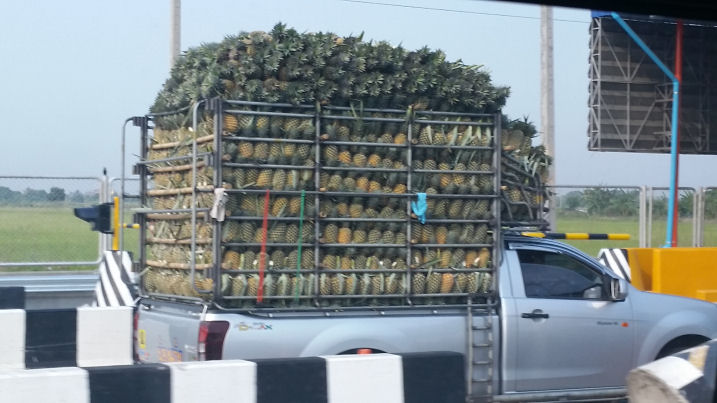 truck carrying pineapples in thailand