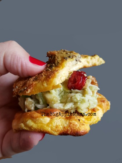 Healthiest Chicken Salad Yes on a Cloud Bread breadless buns! No Carbs Gluten_free