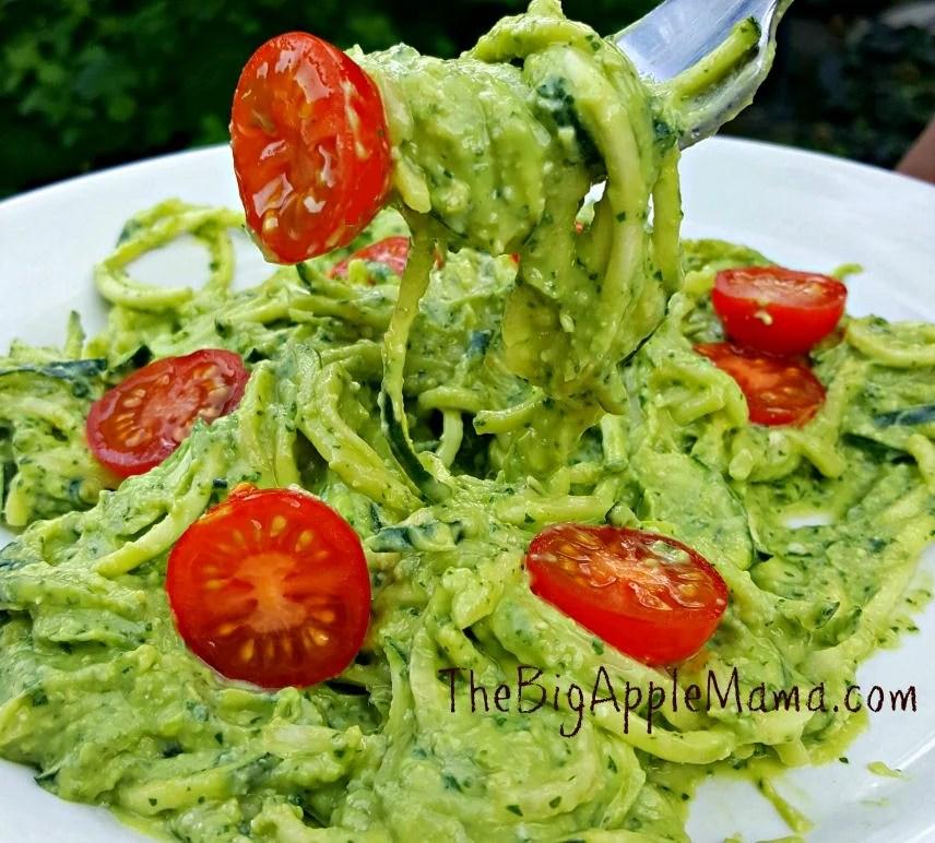 creamy avocado pesto zoodles