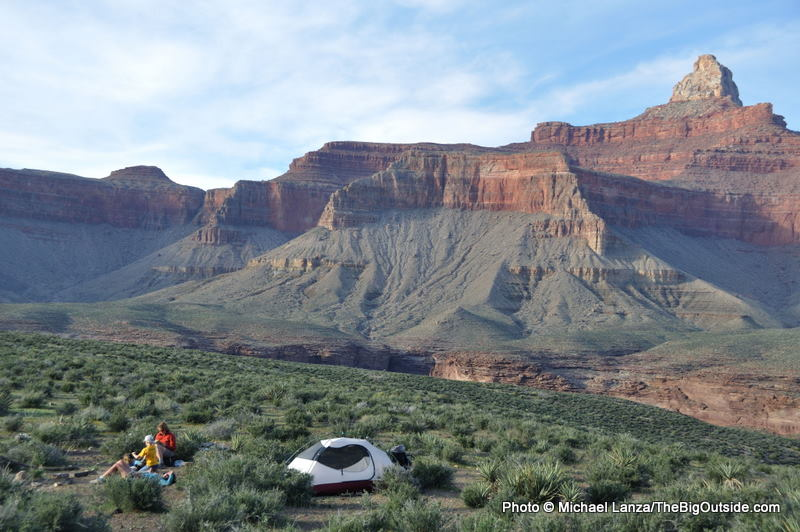 Campsite below Zoroaster Temple, along the Tonto Trail in the Grand Canyon.