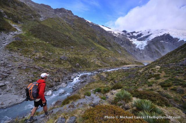 Trekking above the Dart River toward Cascade Pass in New Zealand's Mt. Aspiring National Park.