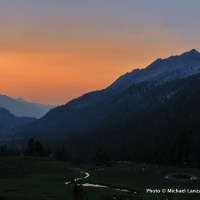 Sunset from camp above Lakes Basin, Eagle Cap Wilderness.