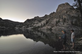 Fishing at Lake 8522, Sawtooth Mountains, Idaho.