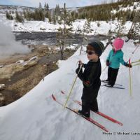 Cross-country skiing in the Upper Geyser Basin, Yellowstone.