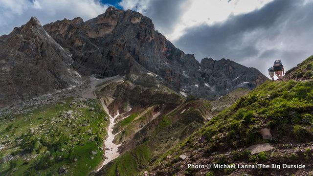 Hiking Trail 712 in Parco Naturale Paneveggio Pale di San Martino, in Italy's Dolomite Mountains.