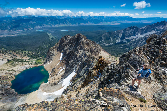 My wife, Penny, on the 10,751-foot summit of Thompson Peak, highest in Idaho's Sawtooth Mountains.