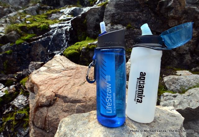 Lifestraw Go and Aquamira Frontier Flow water-filter bottles.