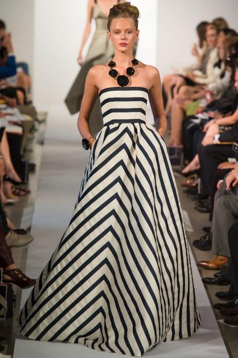 Oscar de la Renta, spring 2013, black and white, Oscar de la Renta black and white, Oscar de la Renta striped dress