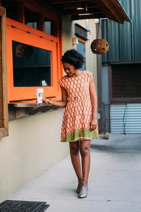 fall dress, orange dress, francesca's, orange, fall style, fall outfit, booties, gold booties, steve madden booties, fall boots, ankle boots, coffee, starbucks