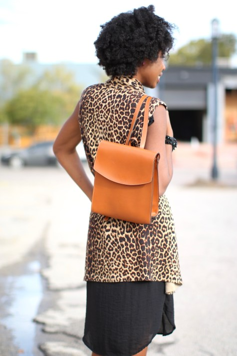 leopard print, black dress, basic black dress, leopard chic, blogger style, natural hair blogger, black style blogger, natural hair inspiration, fashion blogger, leopard style, leopard print sweater, leopard print vest, leopard sweater, backpack, stylish backpack, blogger backpack