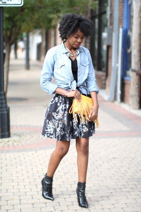 fringe, booties, high waist skirt, chambray shirt, denim shirt, J. Crew shirt, J. Crew, H&M, mustard, fringe clutch, natural hair blogger, natural hair, curly hair blogger, curly hair, brown girl blogger, fall style, yellow clutch, western style