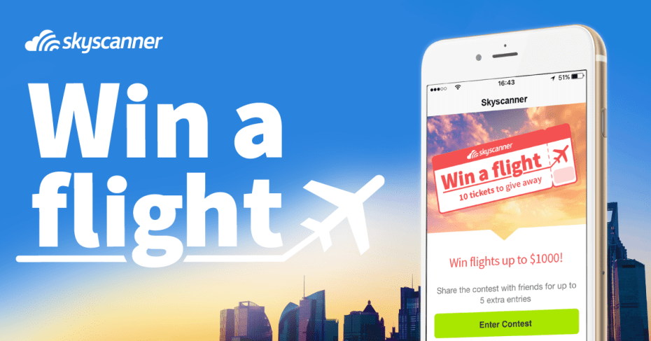 win a free flight with skyscanner