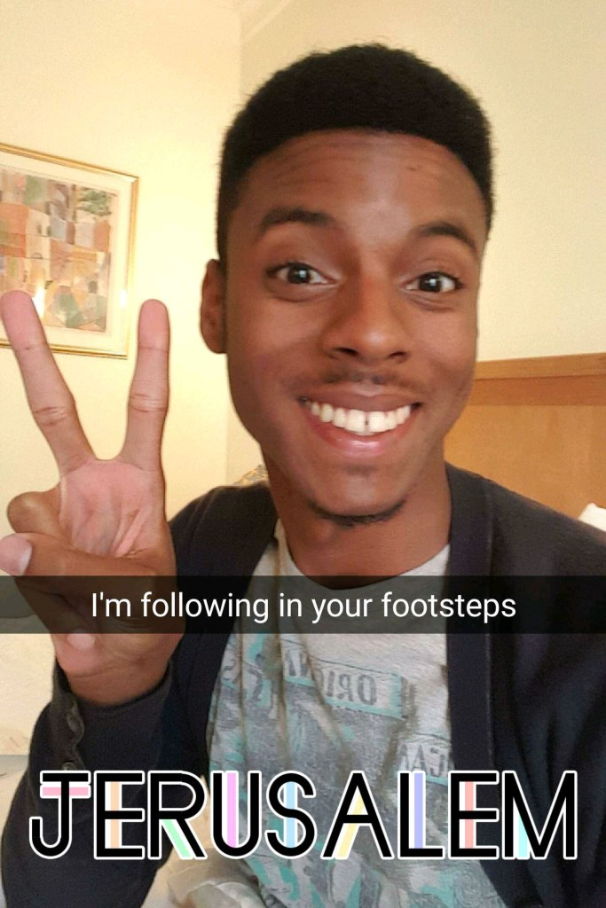 A Snapchat follower @samuelporther currently exploring Jerusalem after watching my trip unfold via Snapchat! Very cool!
