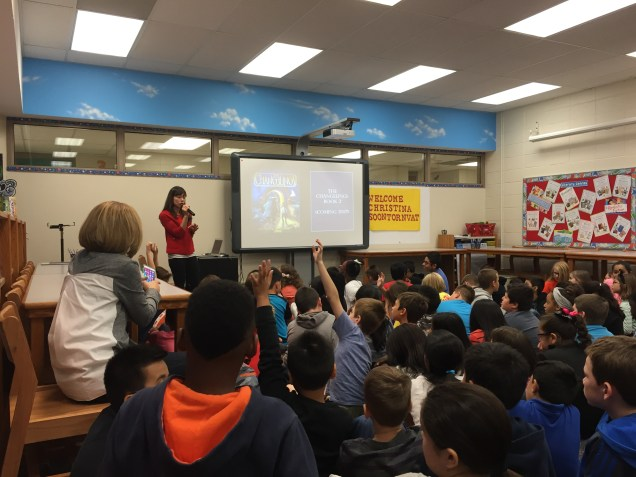 Christina Soontornvat speaking at Western Trails Elementary in Chicago