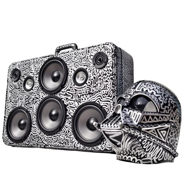 darth vader helmet star wars black and silver boomcase boombox hand painted raiders sacramento california awesome bass speaker system bluetooth battery