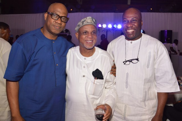 (from right) Mr. Mike Effiong, Biodun Shobanjo (celebrant) with Dapo ABiodun