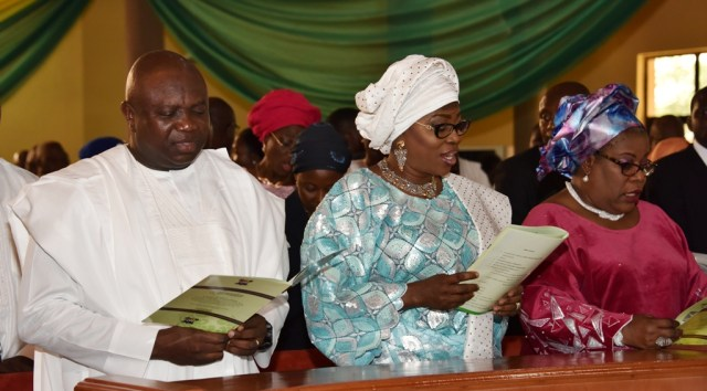 Lagos State Governor, Mr. Akinwunmi Ambode, with his Wife, Bolanle and Chief Judge of Lagos State, Justice Olufunmilayo Atilade during a Thanksgiving Service in Commemoration of Governor Akinwunmi Ambode's First Year in Office at the Chapel of Christ The Light, Alausa, Ikeja, Lagos, on Sunday, May 29, 2016.