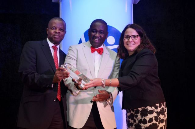 Sesan Sobowale, Corporate Relations Director, Guinness Nigeria Plc, Mr Ben Langat, Managing Director, Nigerian Bottling Company and Monica Peach, Human Resources Director, Guinness Nigeria Plc receiving the award for Guinness Nigeria as the company won the 3rd best place to work in Nigeria during the Great Place to Work awards