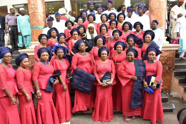 Speaker Lagos State House of Assembly, Rt. Hon. Mudashiru Ajayi Obasa with the wifes of Hon. Members
