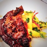 Spiced pork chop with ginger and mango relish