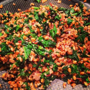 Mixed grains with kale (to accompany chicken)