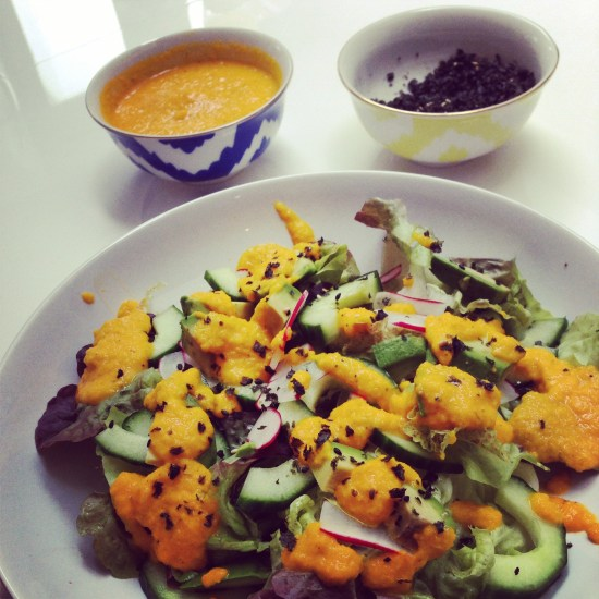 Salad with Carrot & Ginger Dressing
