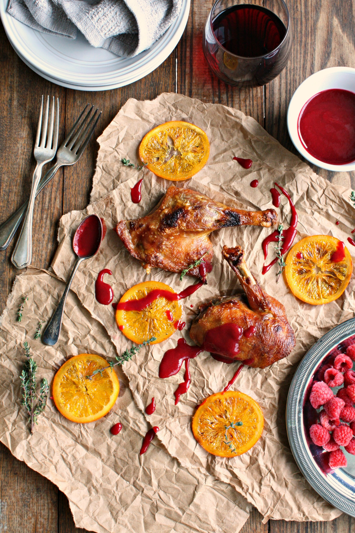 crispy duck with candied orange raspberry sauce