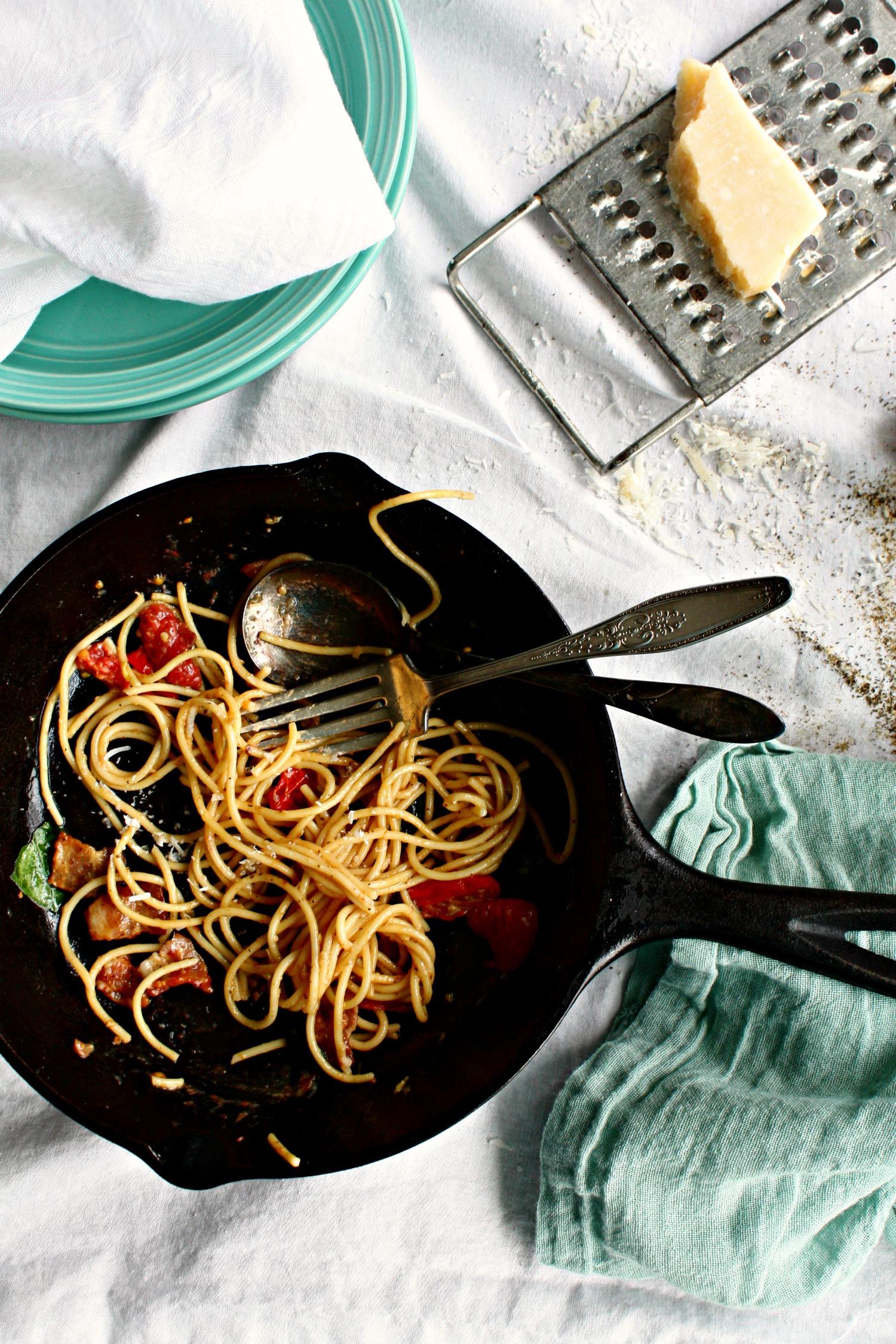 spaghetti carbonara eaten