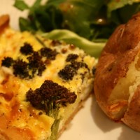 Purple Sprouting Broccoli and Goats Cheese Tart