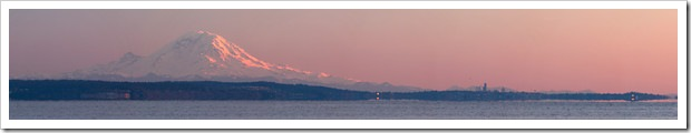 Mount Rainier And Seattle At Sunset